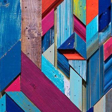 Abstract kunstwerk in hout